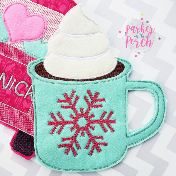 Digital Download- Cup of Cocoa Banner - in the hoop machine embroidery