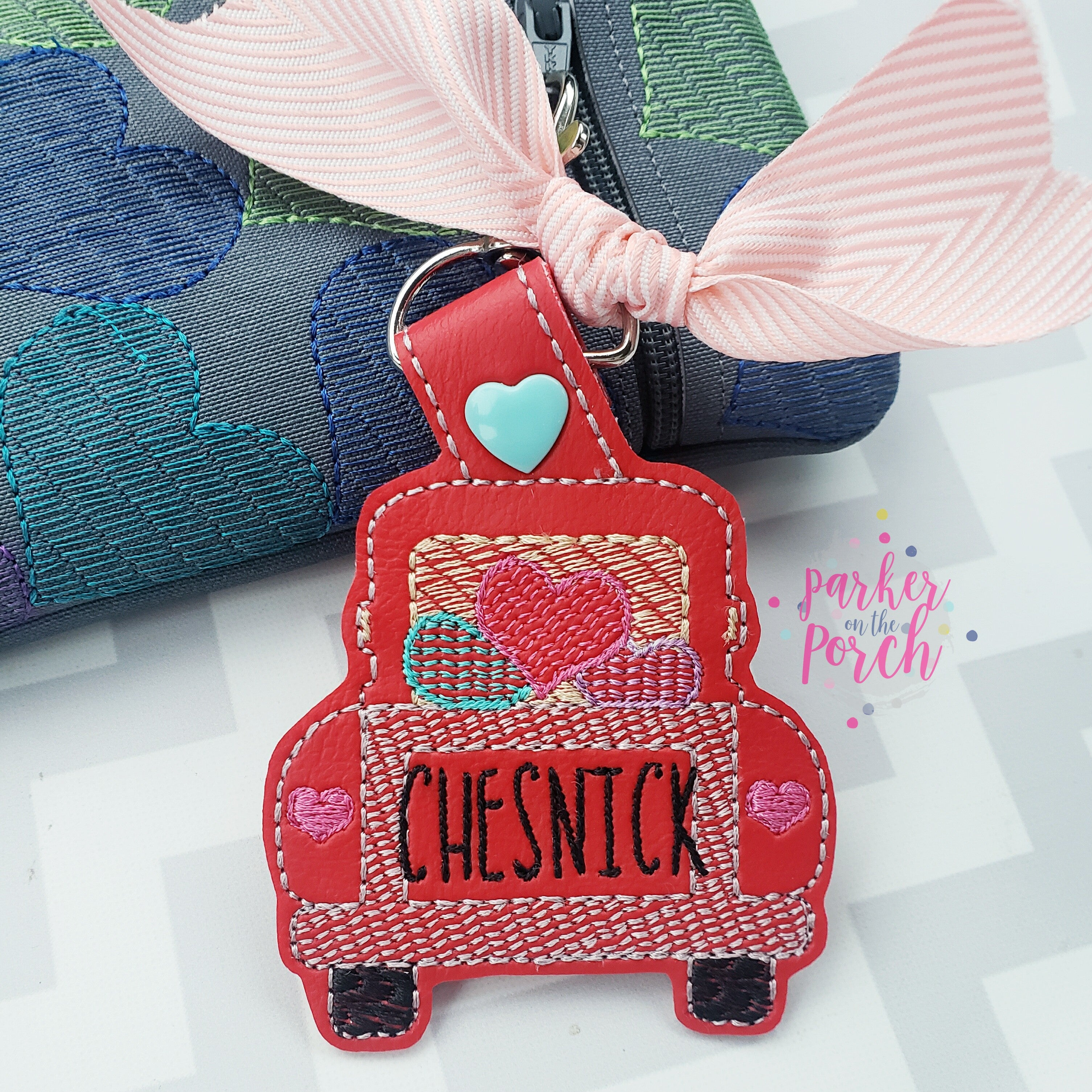 Digital Download- Valentine Truck Snaptab - in the hoop machine embroidery ITH pattern