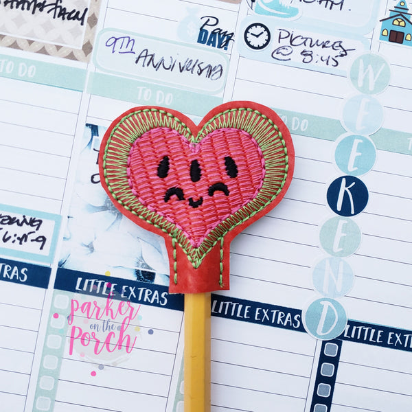 Digital Download- Watermelon Heart Pencil Topper - in the hoop machine embroidery ITH pattern