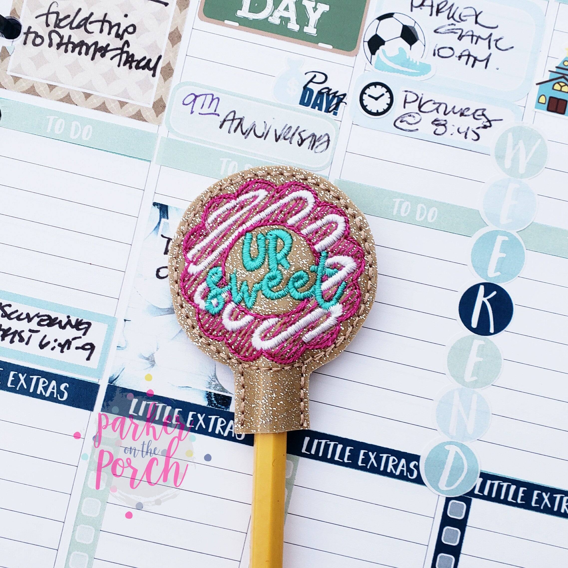 Digital Download- Donut Pencil Topper - in the hoop machine embroidery