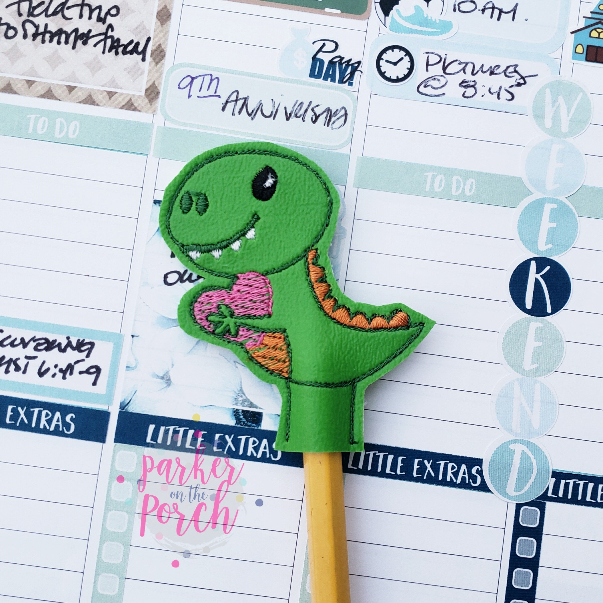 Digital Download- Dino Love Pencil Topper - in the hoop machine embroidery