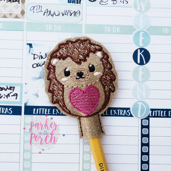 Digital Download- Hedgehog Pencil Topper - in the hoop machine embroidery