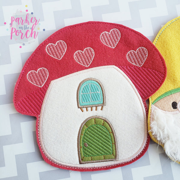 Digital Download- Mushroom House Banner - in the hoop machine embroidery