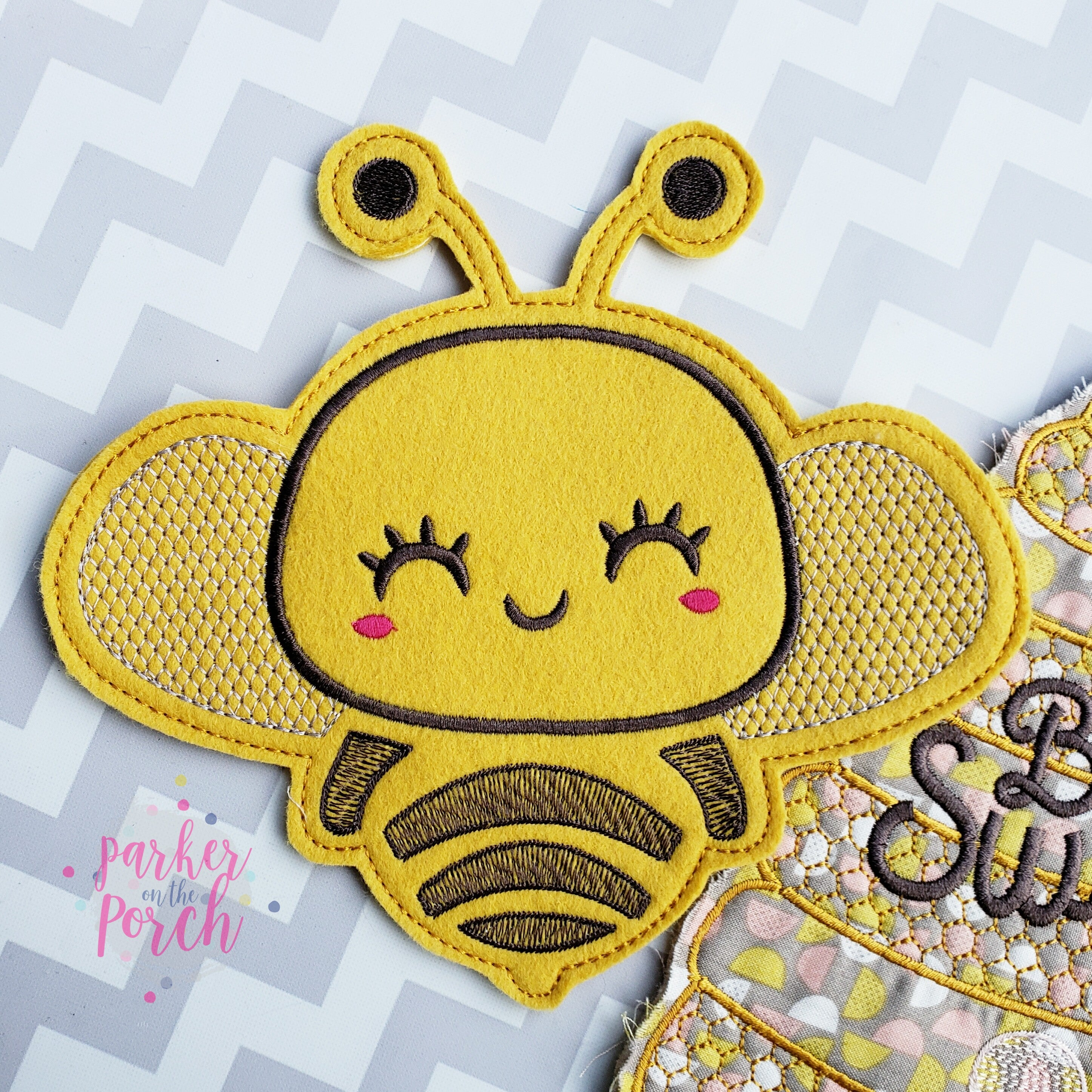 Digital Download- Bee Banner - in the hoop machine embroidery ITH pattern
