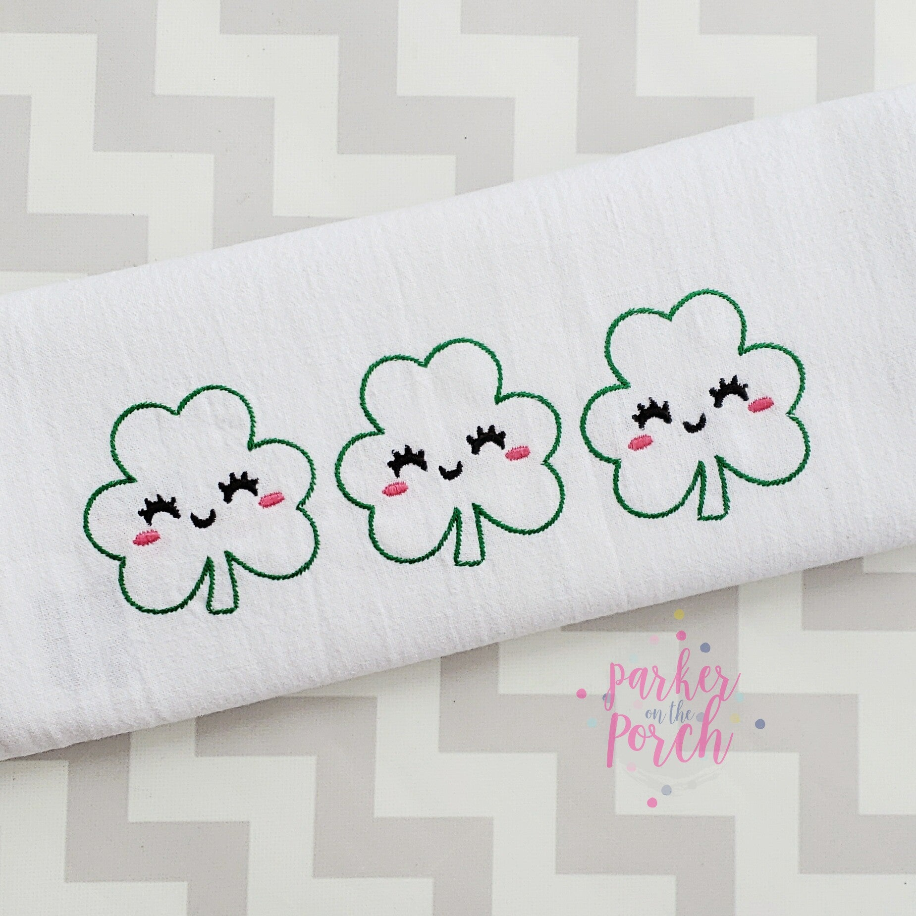 Digital Download- Happy Clover Sketch Design - in the hoop machine embroidery
