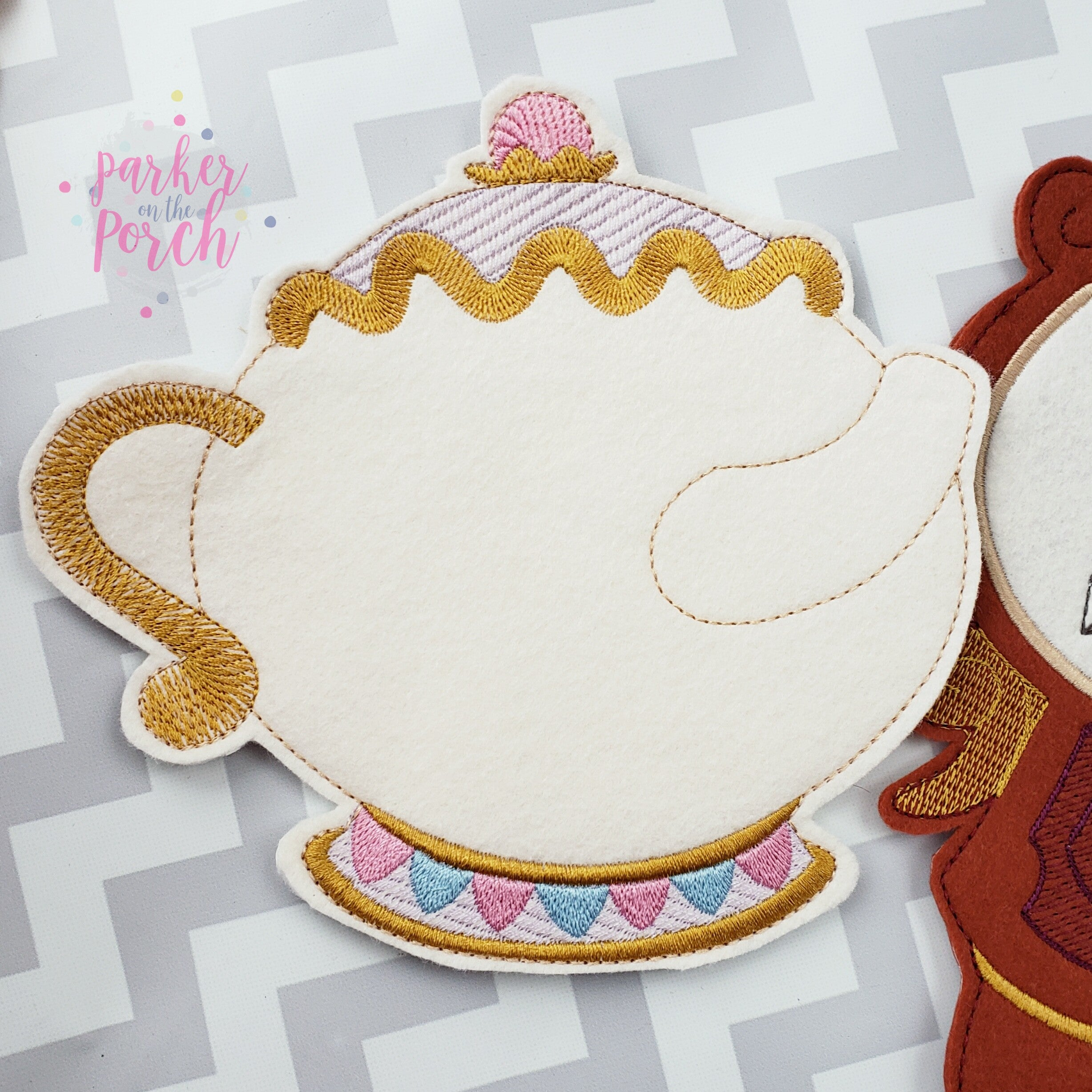 Digital Download- Magical Teapot Banner - in the hoop machine embroidery ITH pattern