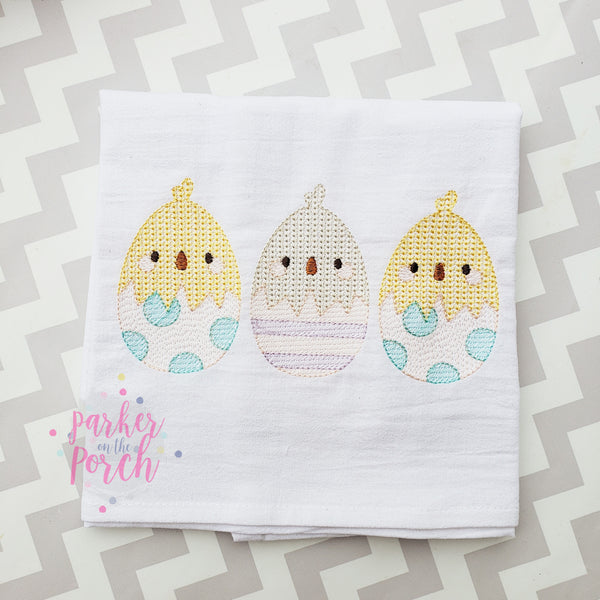 Digital Download- Chick Eggs Sketch Trio - in the hoop machine embroidery