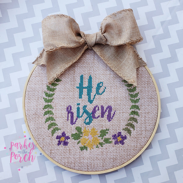 Digital Download- He Is Risen Cross Stitch - Embroidery Fill - in the hoop machine embroidery ITH pattern