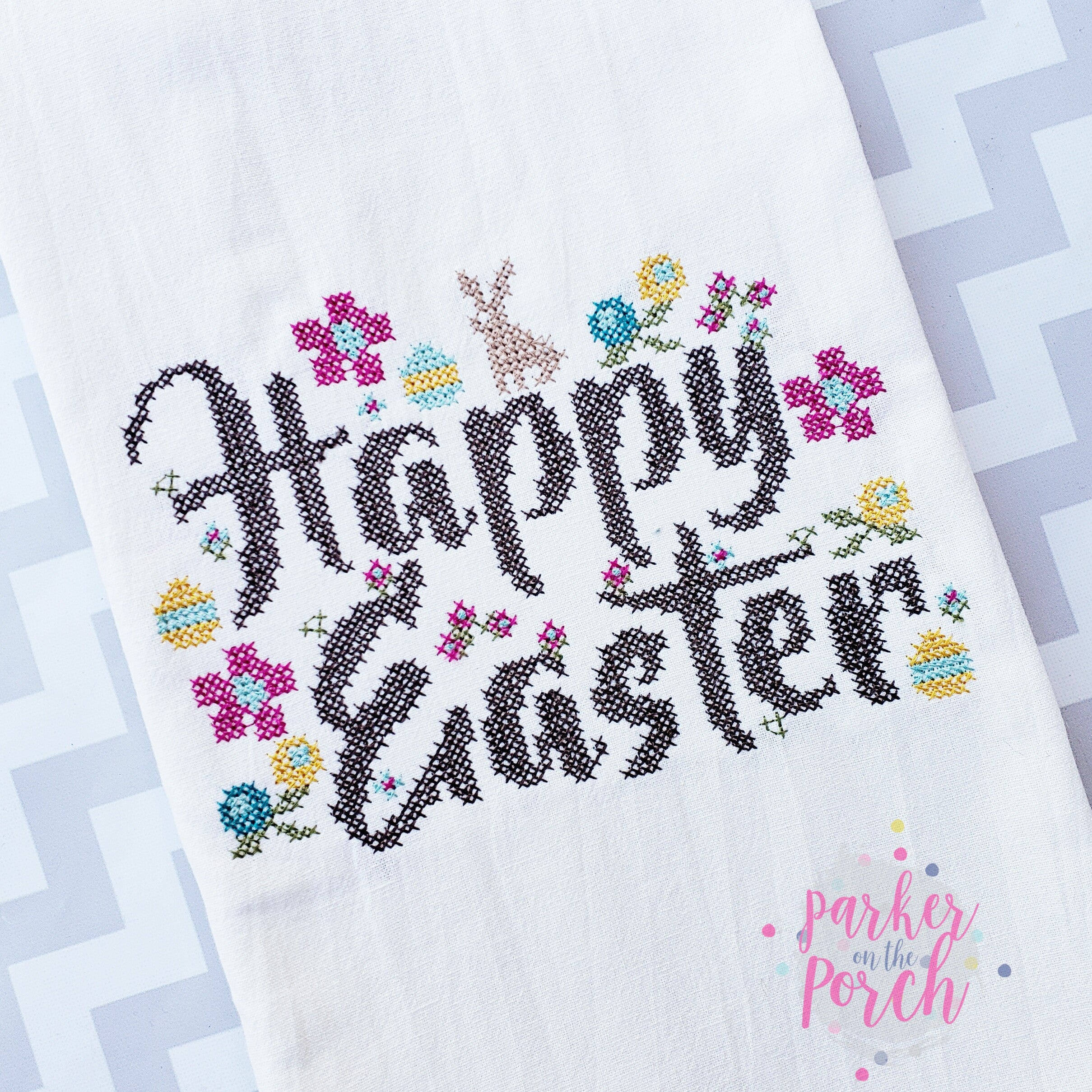 Digital Download- Happy Easter Cross Stitch - Embroidery Fill - in the hoop machine embroidery ITH pattern