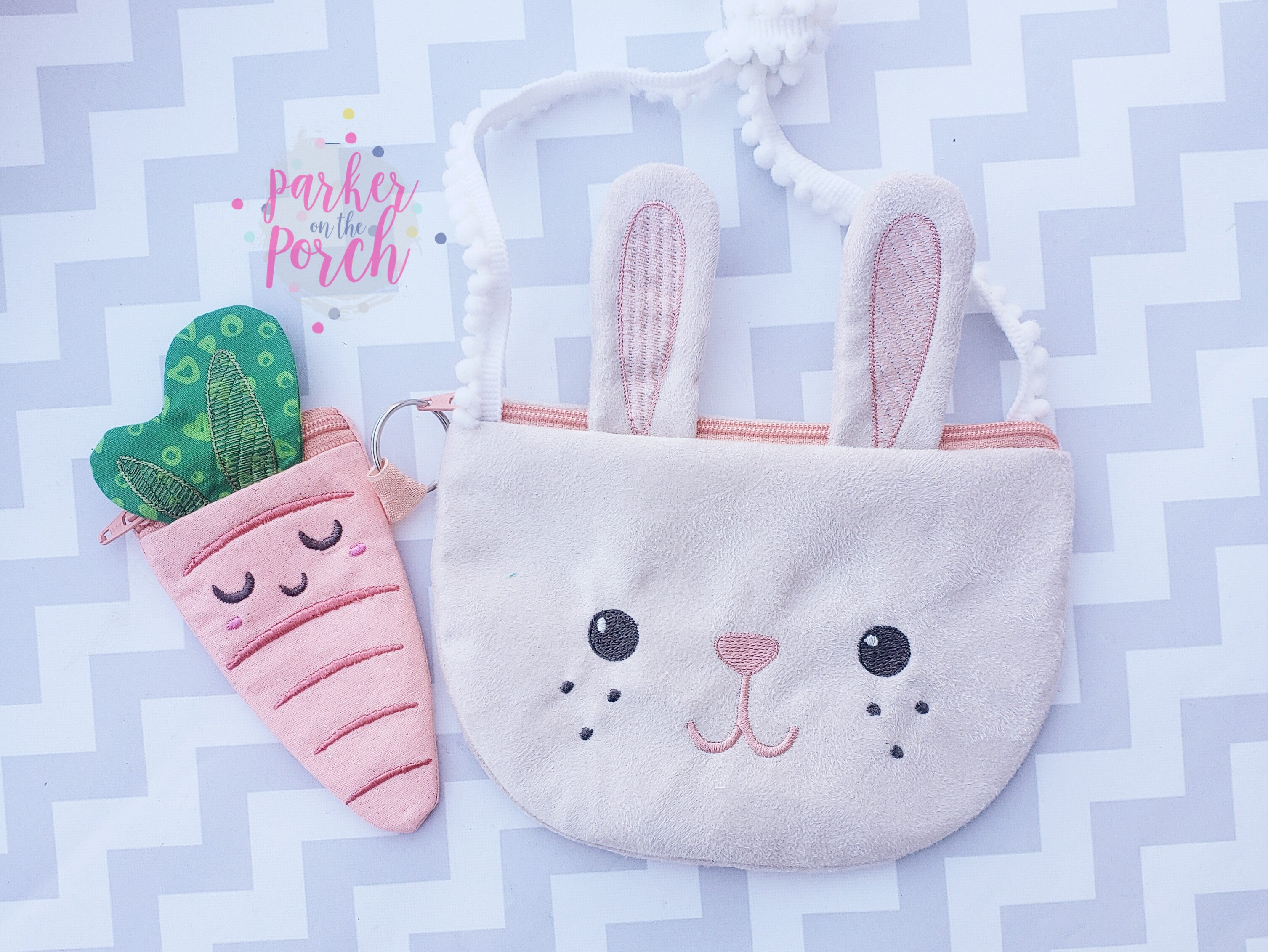 Digital Download - Top Zip Bunny Bag AND Carrot Coin Purse - in the hoop machine embroidery ITH pattern