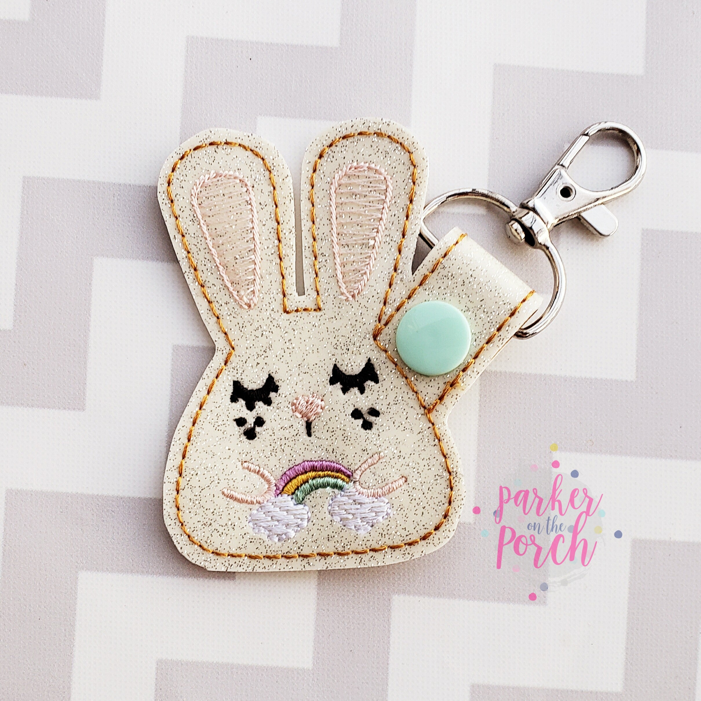 Digital Download- Rainbow Bunny Snaptab - in the hoop machine embroidery ITH pattern