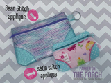 Digital Download - The Original Clutch FRONT ZIP Zipper Bag - in the hoop machine embroidery ITH pattern