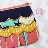 Digital Download - Scallop Top Zip Bag - in the hoop machine embroidery ITH pattern