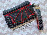 Digital Download - Dragon Wing Clutch Zipper Bag - in the hoop machine embroidery ITH pattern