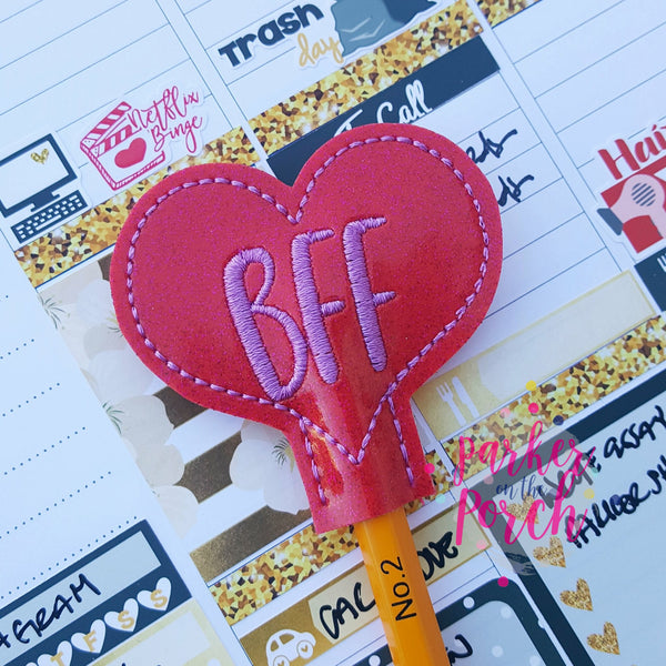 Digital Download- BFF Heart Pencil Topper - in the hoop machine embroidery ITH pattern