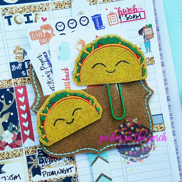 Digital Download- Taco Planner Clip & Feltie Set - in the hoop machine embroidery ITH pattern