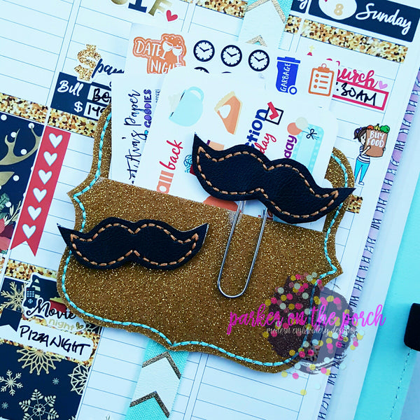 Digital Download - Mustache Planner Clip & Feltie Set - in the hoop machine embroidery ITH pattern