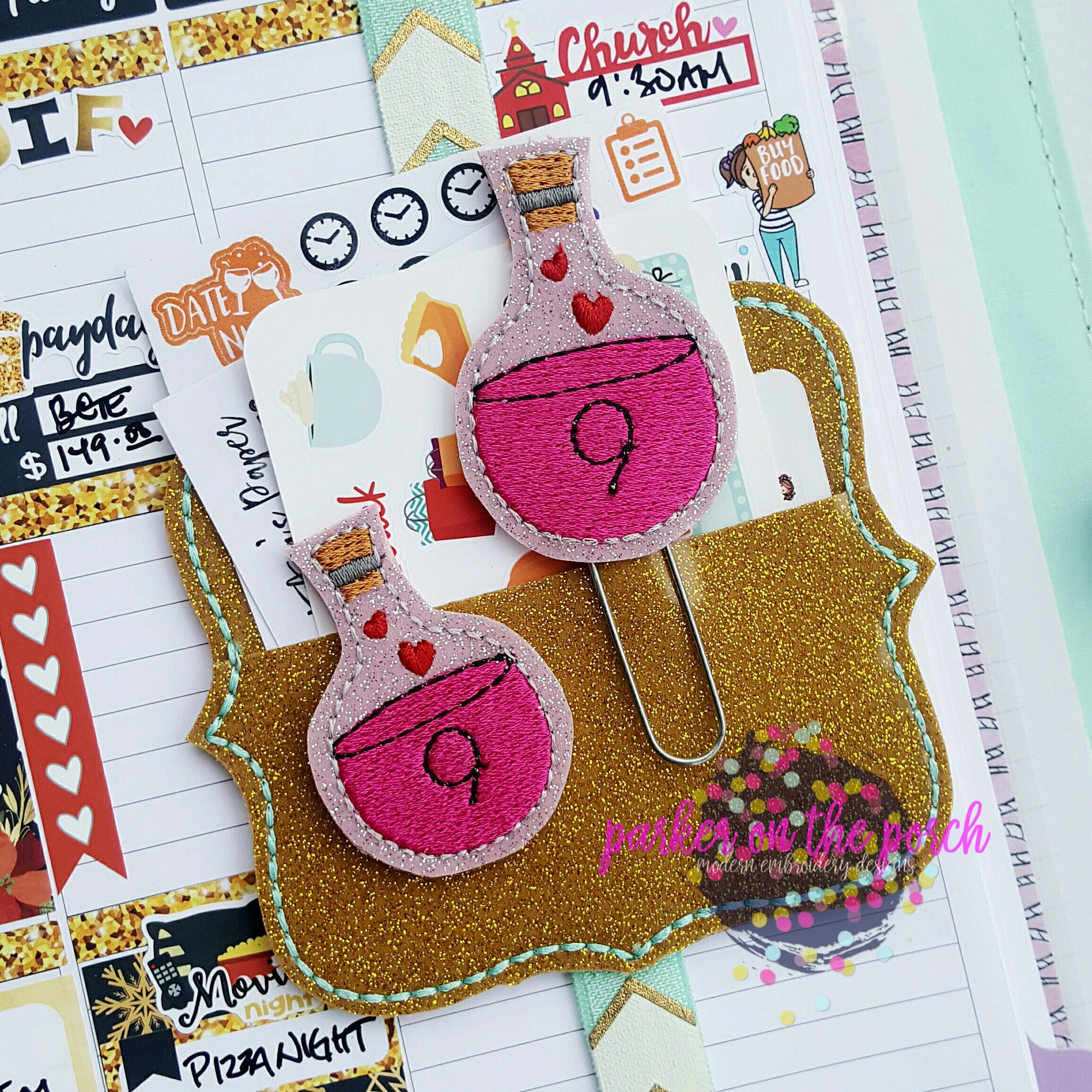 Digital Download- Love Potion Feltie & Planner Clip Design - in the hoop machine embroidery