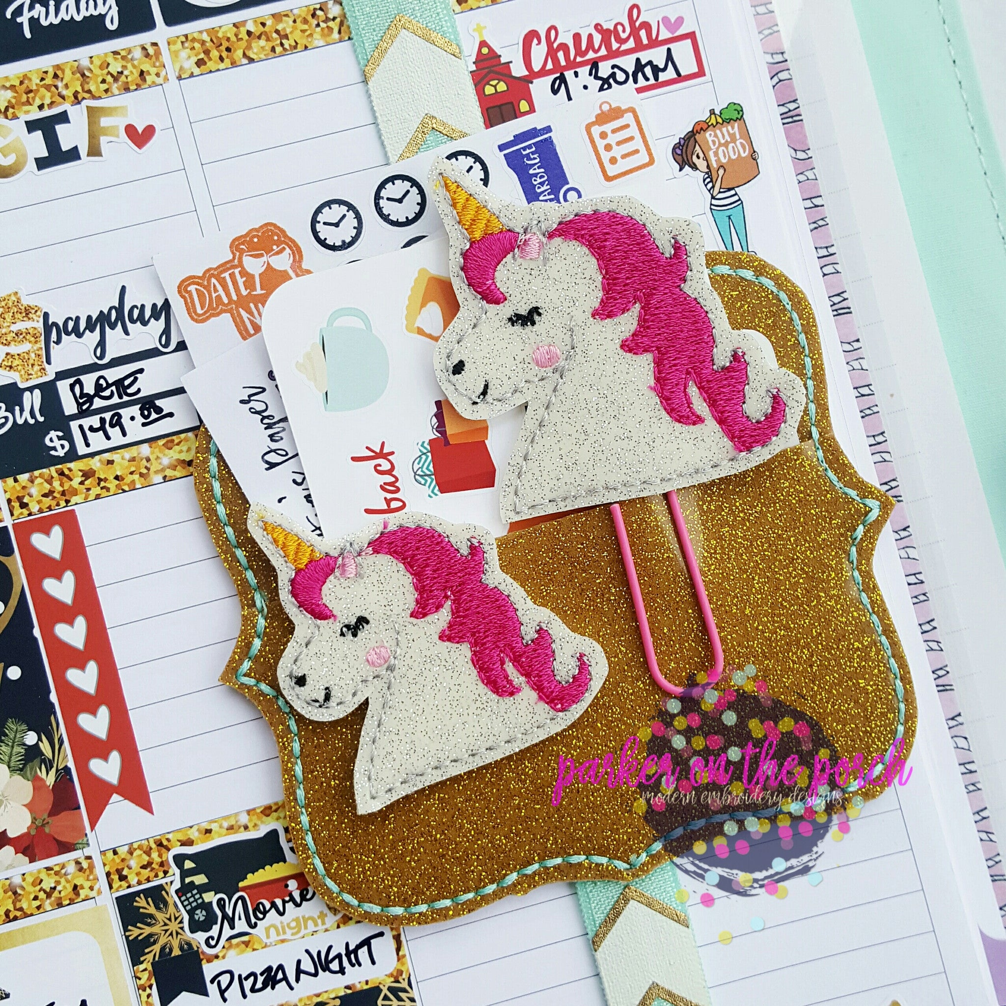 Digital Download- Unicorn 2.0 Planner Clip & Feltie Set - in the hoop machine embroidery