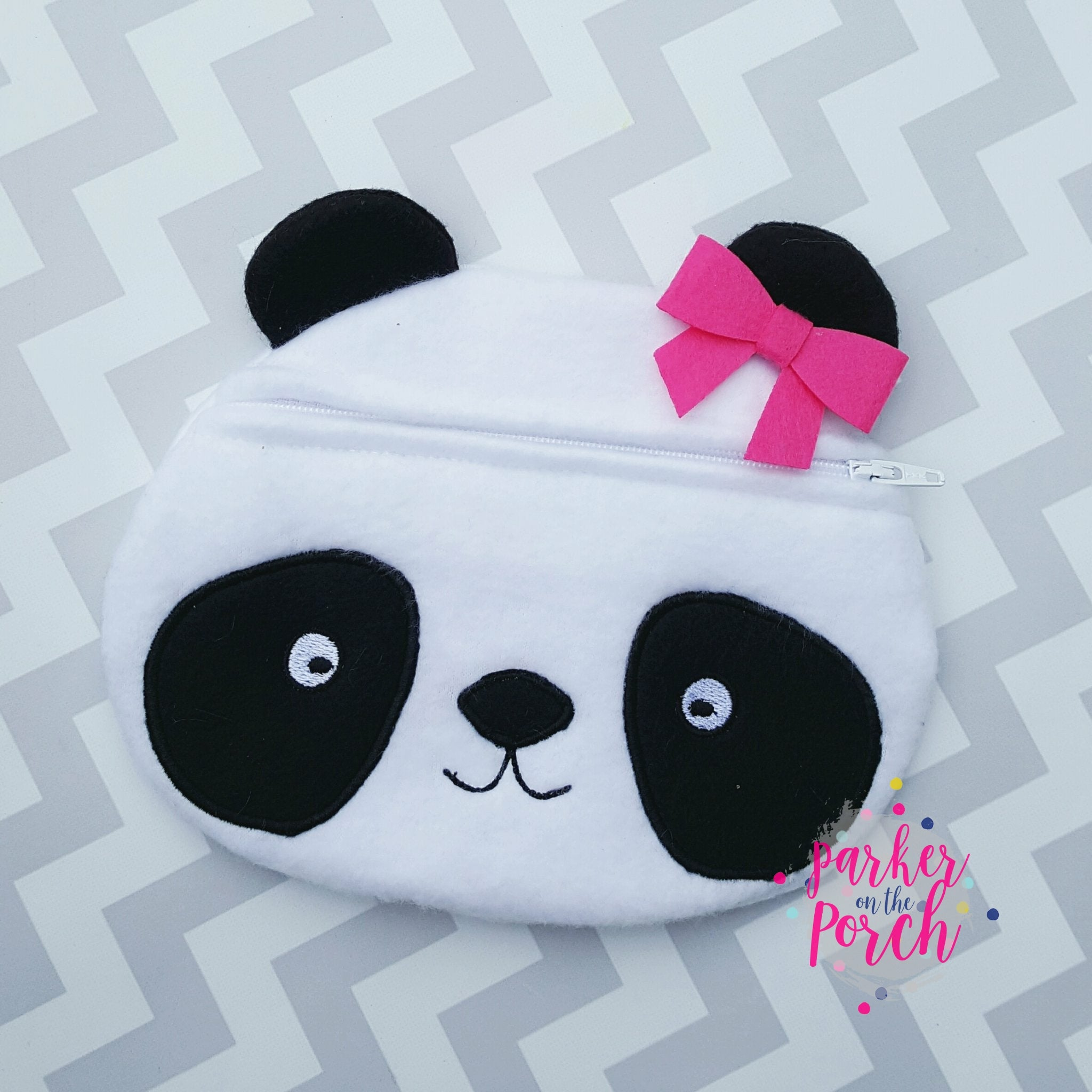 Digital Download - Panda Zipper Bag - in the hoop machine embroidery ITH pattern