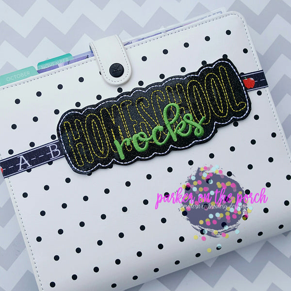 Digital Download- Home School Rocks Book Band - in the hoop machine embroidery
