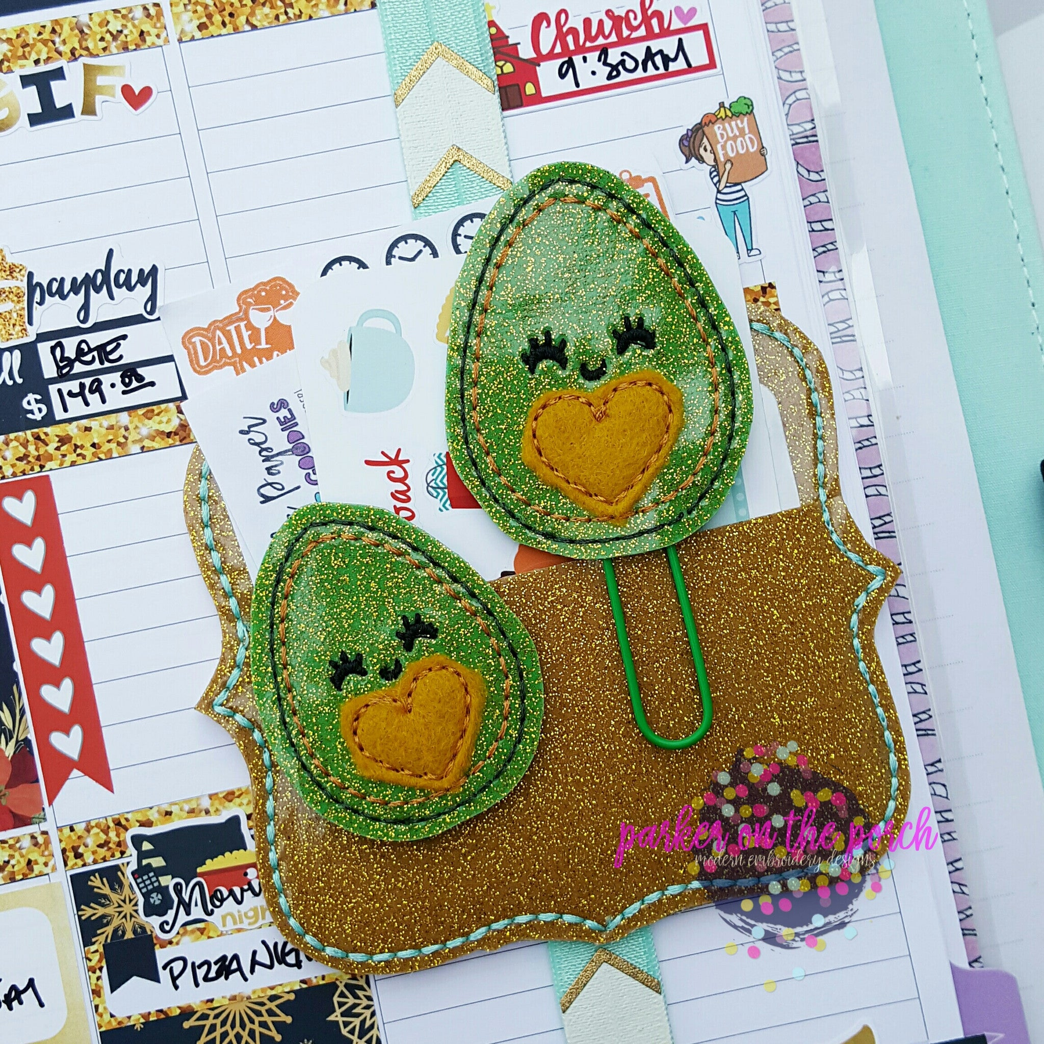 Digital Download- Avocado Planner Clip & Feltie Set - in the hoop machine embroidery ITH pattern