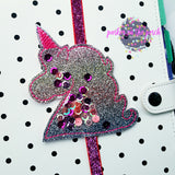 Digital Download- Glitter Unicorn Planner Band and Clip Set - in the hoop machine embroidery ITH pattern