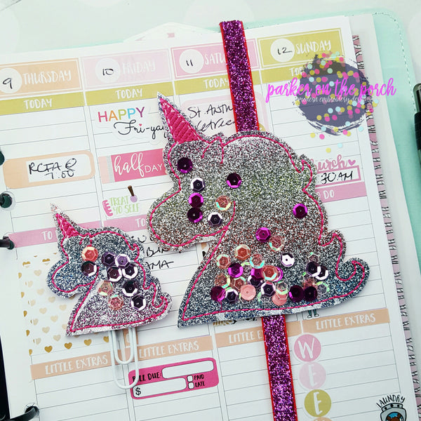 Digital Download- Filled Unicorn Planner Band and Clip Set - in the hoop machine embroidery