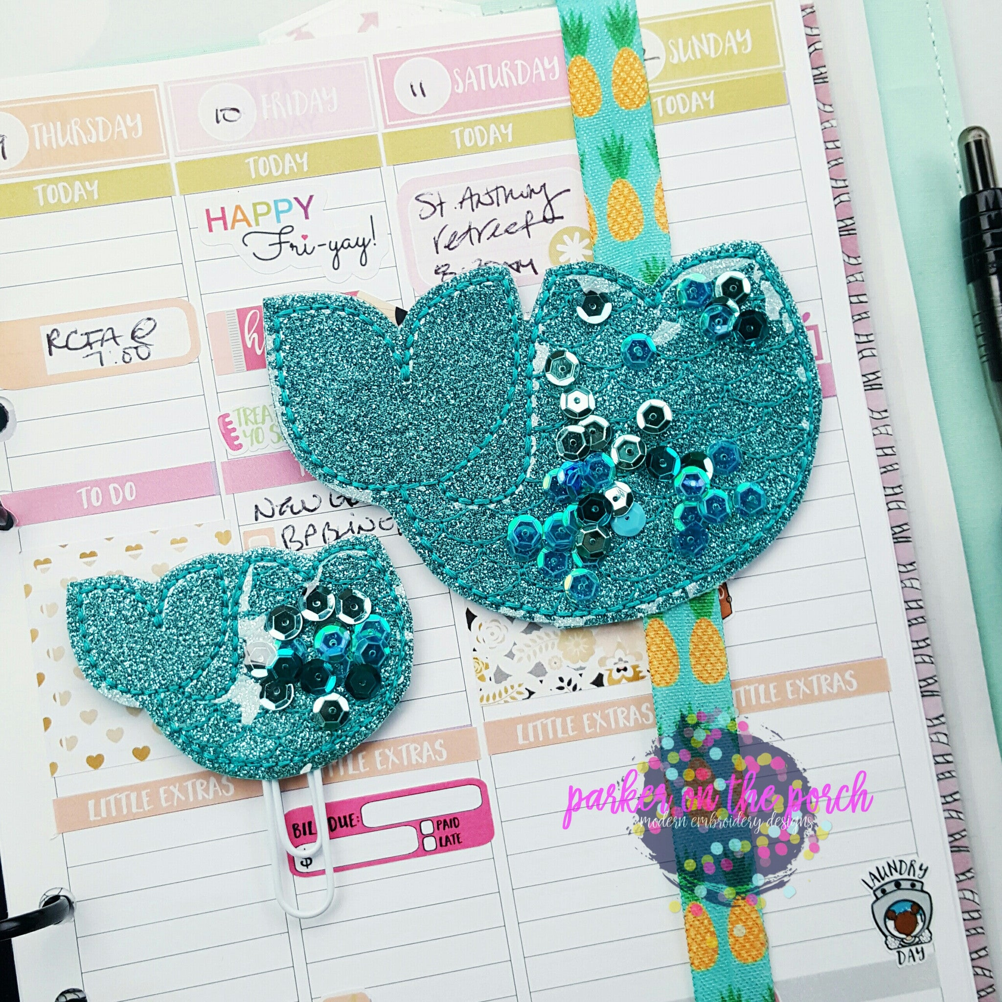 Digital Download- Filled Mermaid Planner Band & Planner Clip set - Parker on the Porch