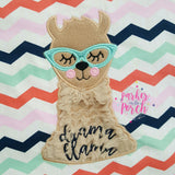 Digital Download- Drama Llama Applique - in the hoop machine embroidery ITH pattern
