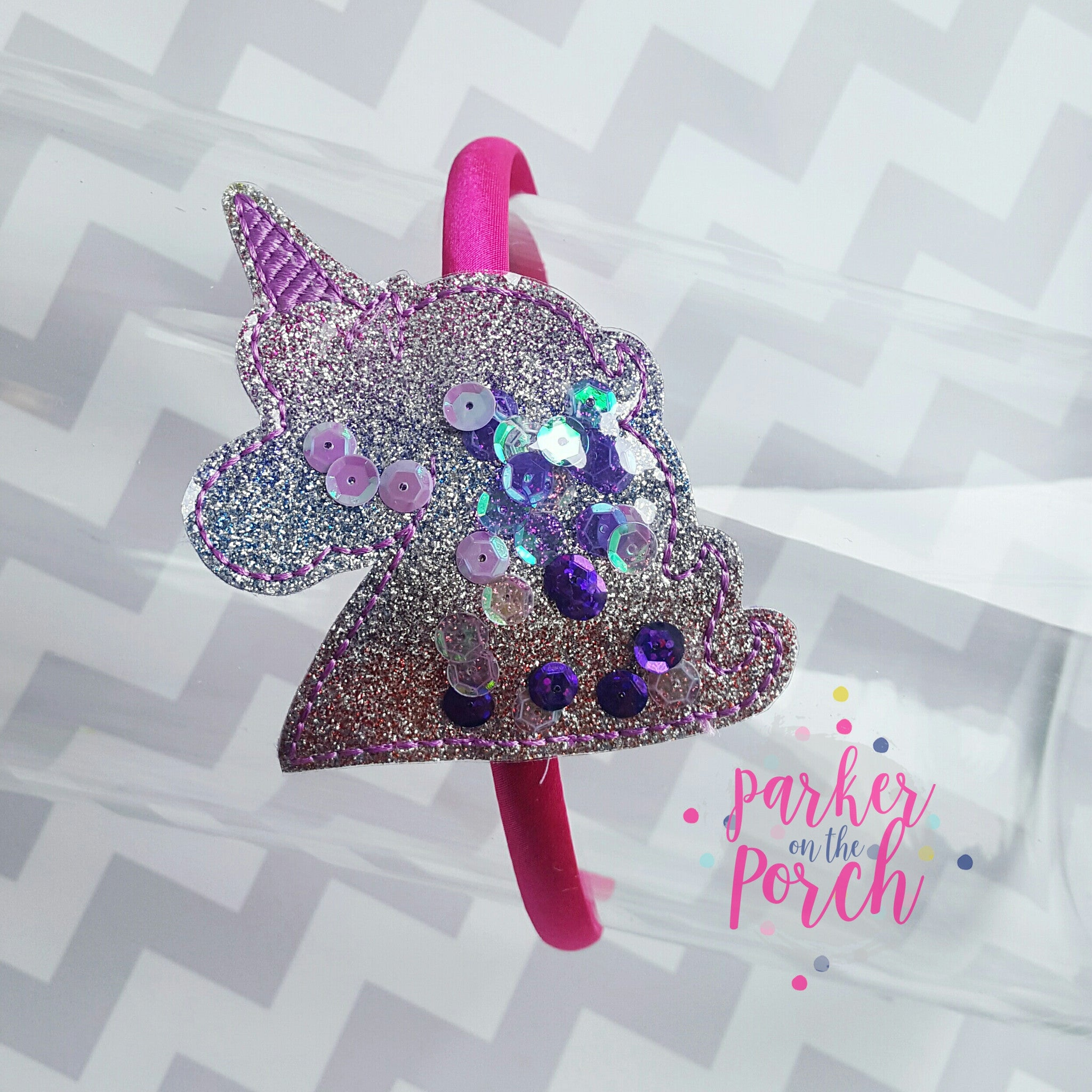 Digital Download- Unicorn Headband Slider - in the hoop machine embroidery ITH pattern