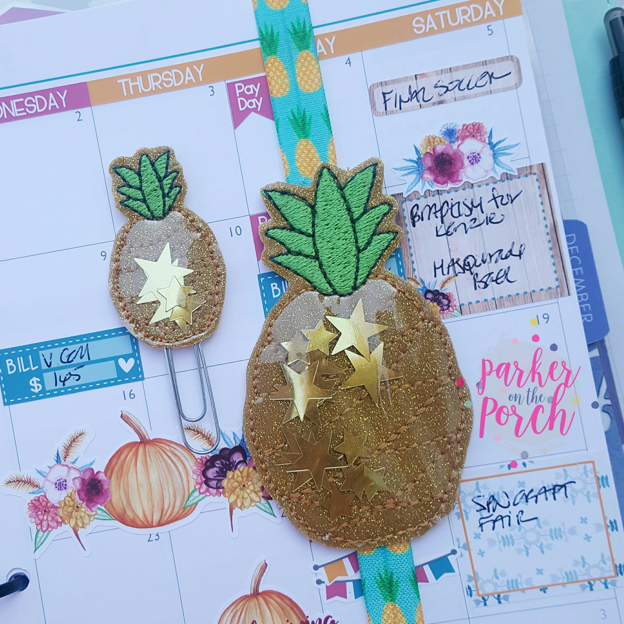 Digital Download- Glitter Pineapple Planner Band & Clip Set - in the hoop machine embroidery ITH pattern
