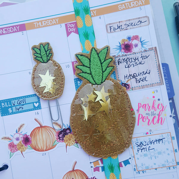 Digital Download- Glitter Pineapple Planner Band & Clip Set - in the hoop machine embroidery