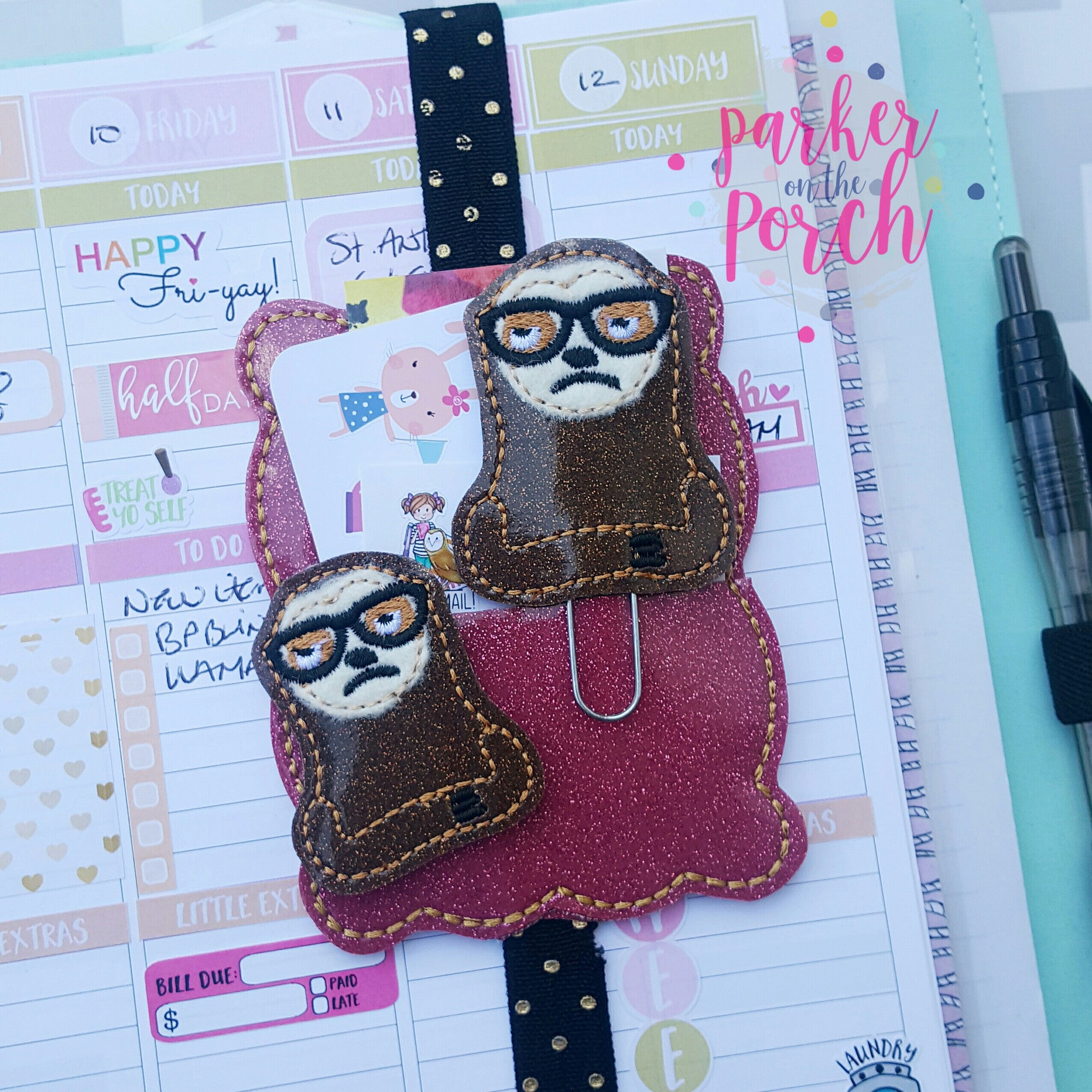 Digital Download- Snarky Sloth Planner Clip & Feltie Set - in the hoop machine embroidery ITH pattern