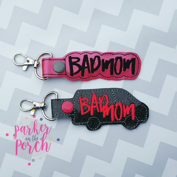 Digital Download - Bad Mom Snaptabs set of 2 - in the hoop machine embroidery