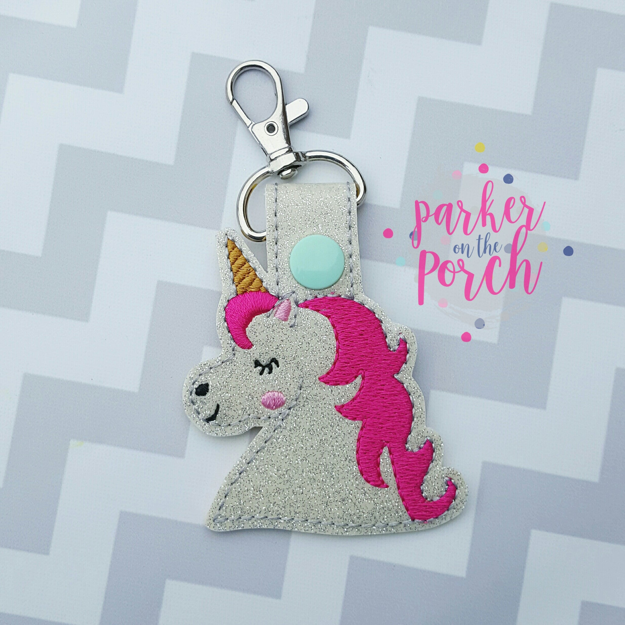 Digital Download- Unicorn Snaptab - in the hoop machine embroidery