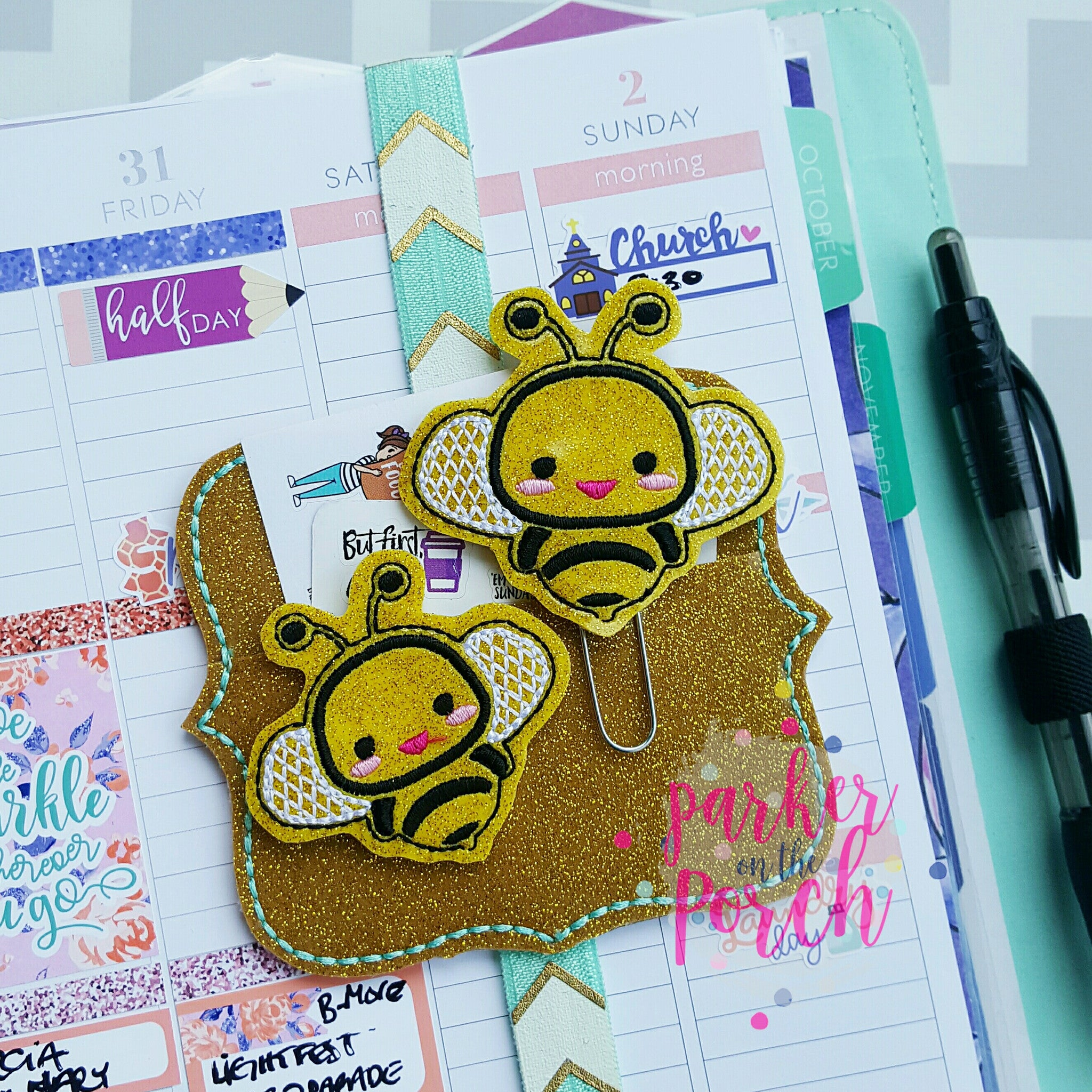 Digital Download- Buzz Bee Planner Clip & Feltie Set - in the hoop machine embroidery ITH pattern