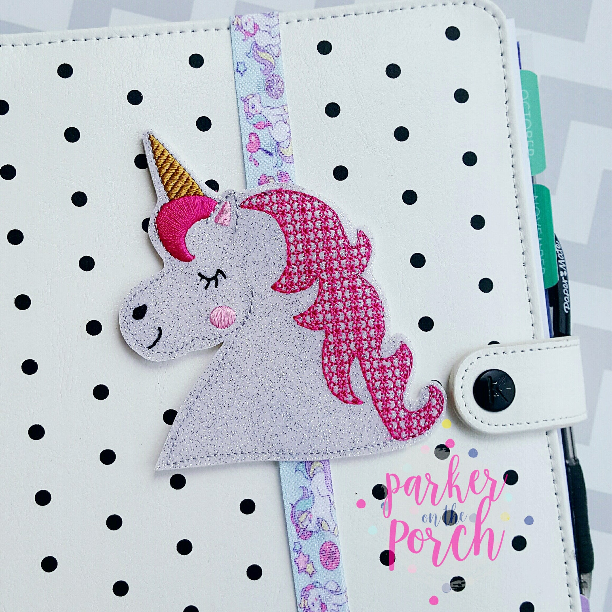 Digital Download- Unicorn Planner Band - in the hoop machine embroidery