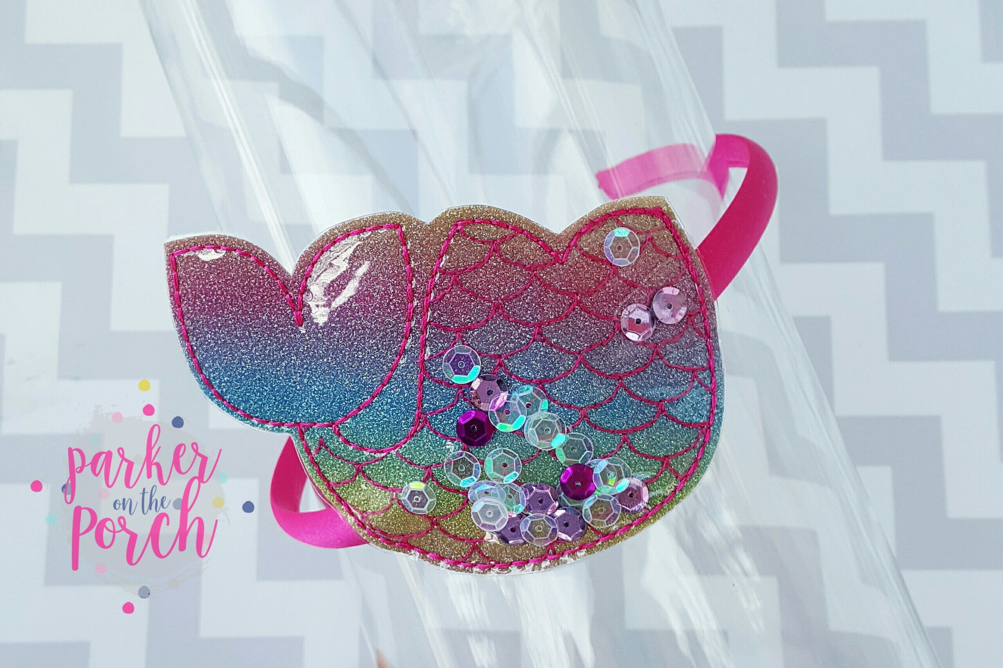 Digital Download- Mermaid Headband Slider - in the hoop machine embroidery