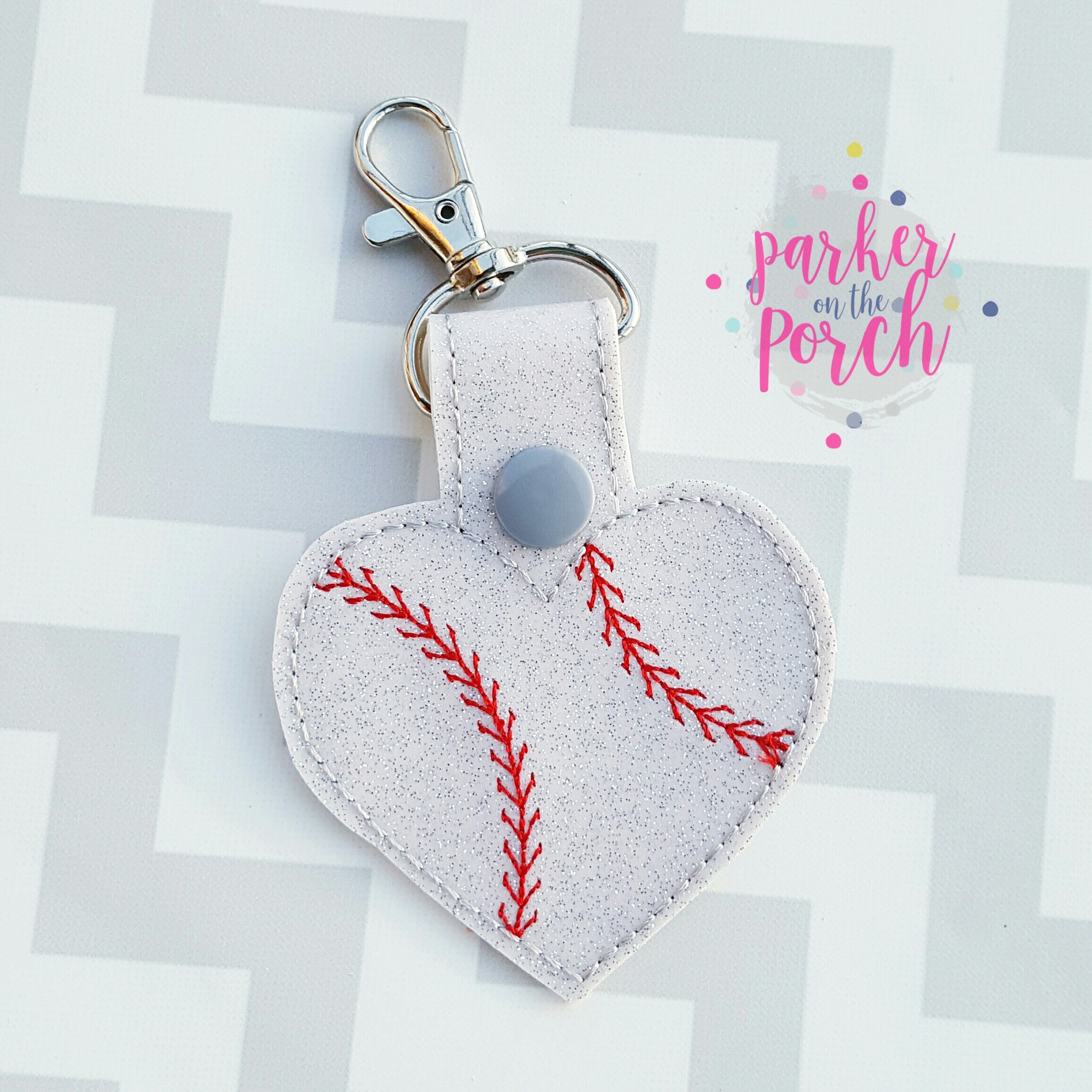Digital Download - Baseball Heart Snaptab - in the hoop machine embroidery