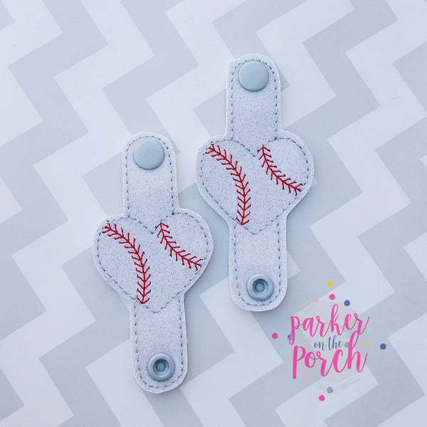 Digital Download - Baseball Hearts Cord Keepers - in the hoop machine embroidery