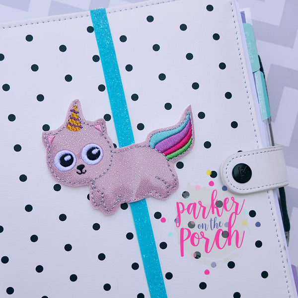 POP- Unicorn Kitty Planner Band - in the hoop machine embroidery ITH pattern