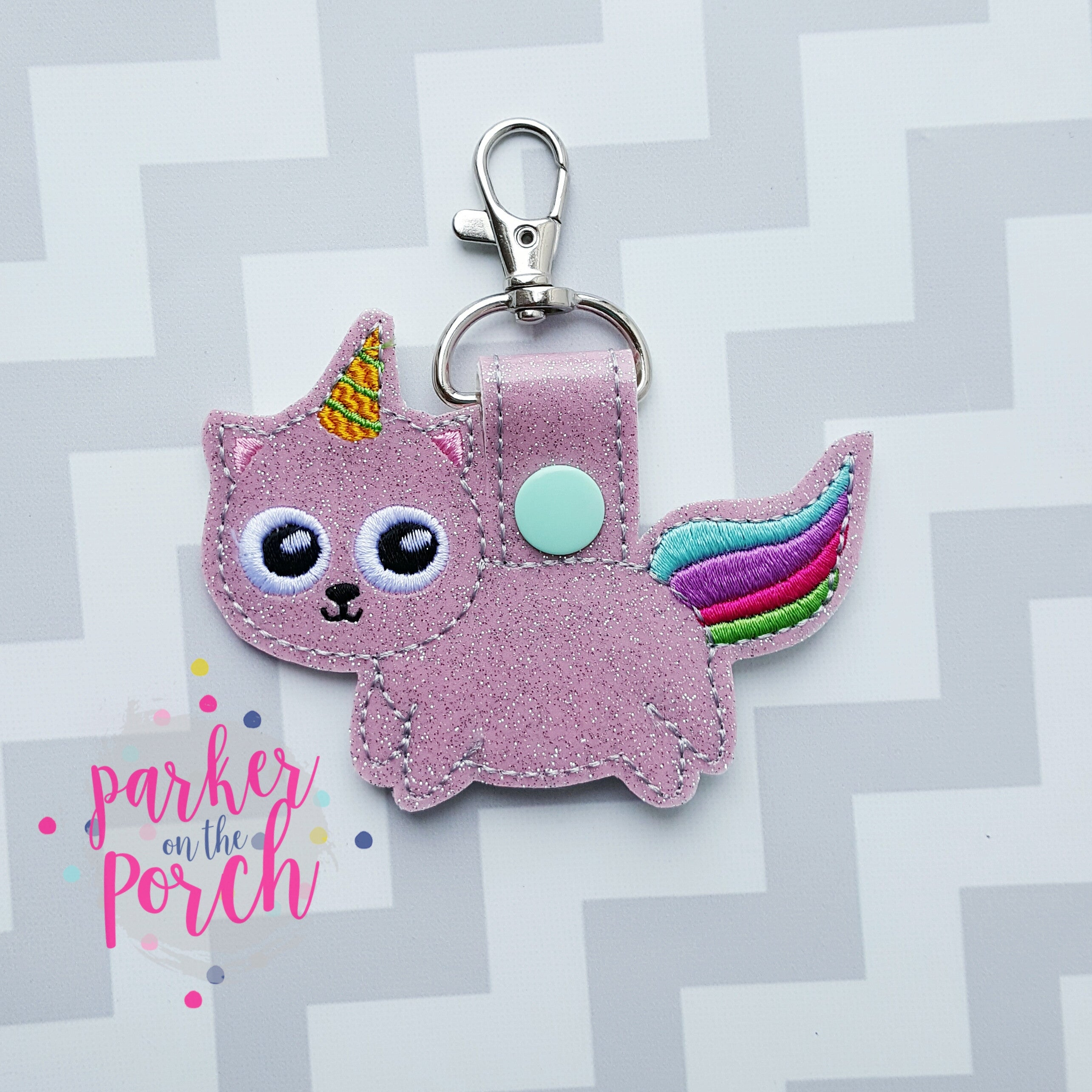 Digital Download- Unicorn Kitty Snaptab - in the hoop machine embroidery ITH pattern