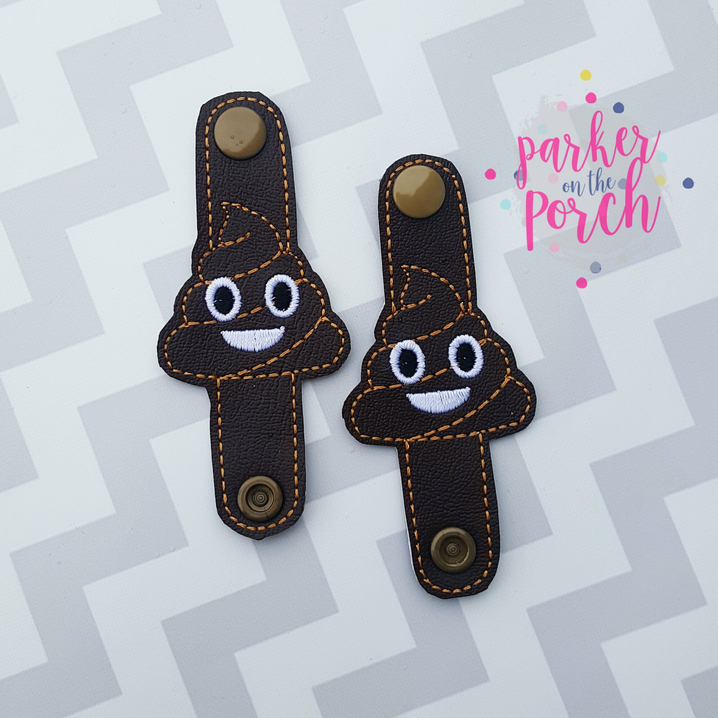 Digital Download- Emoji Poop Cord Keepers - in the hoop machine embroidery