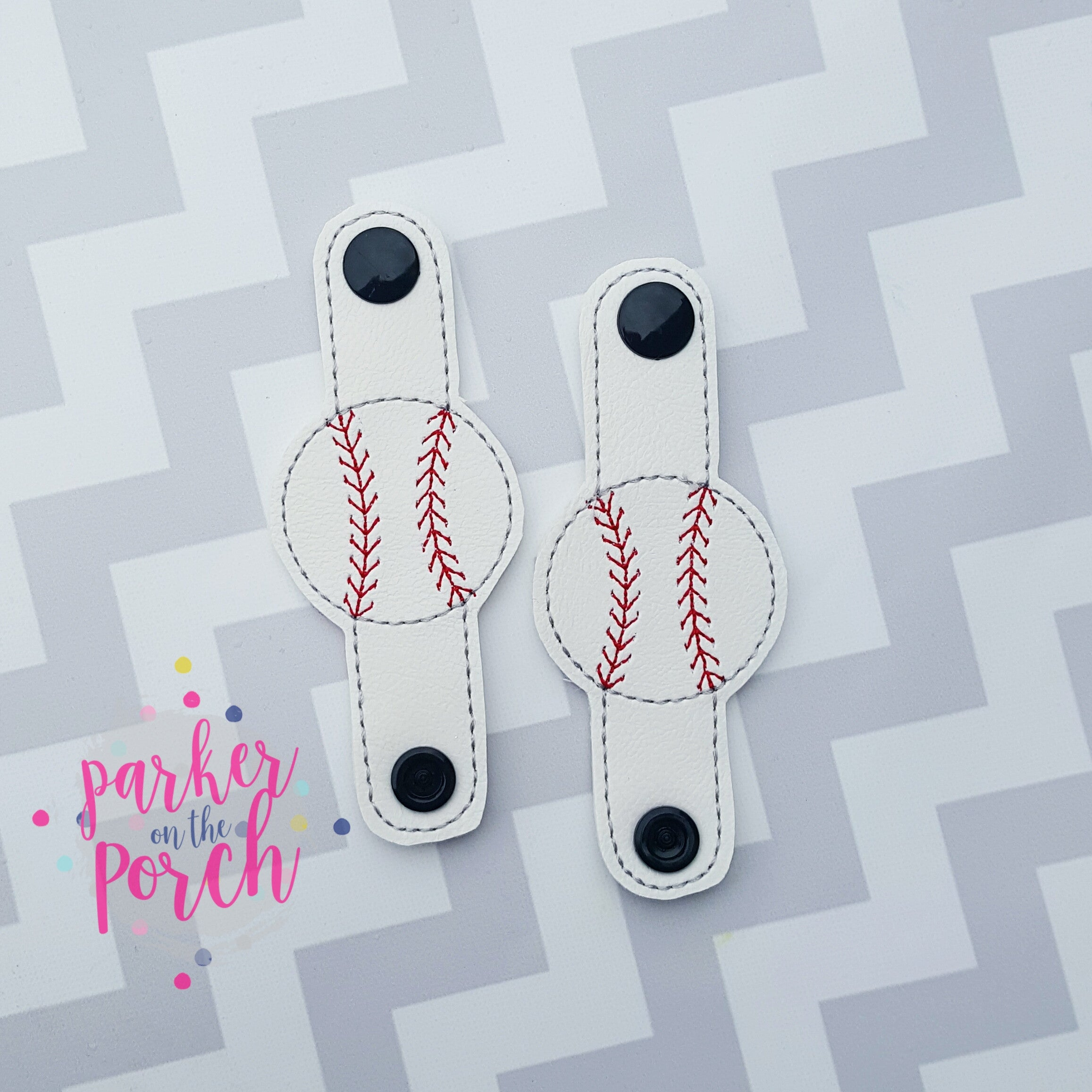 Digital Download- Baseball Cord Keepers - in the hoop machine embroidery ITH pattern