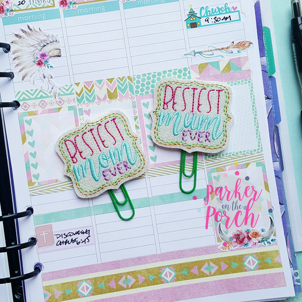 Digital Download- Bestest Mom - Mum Planner Clip Set - in the hoop machine embroidery ITH pattern