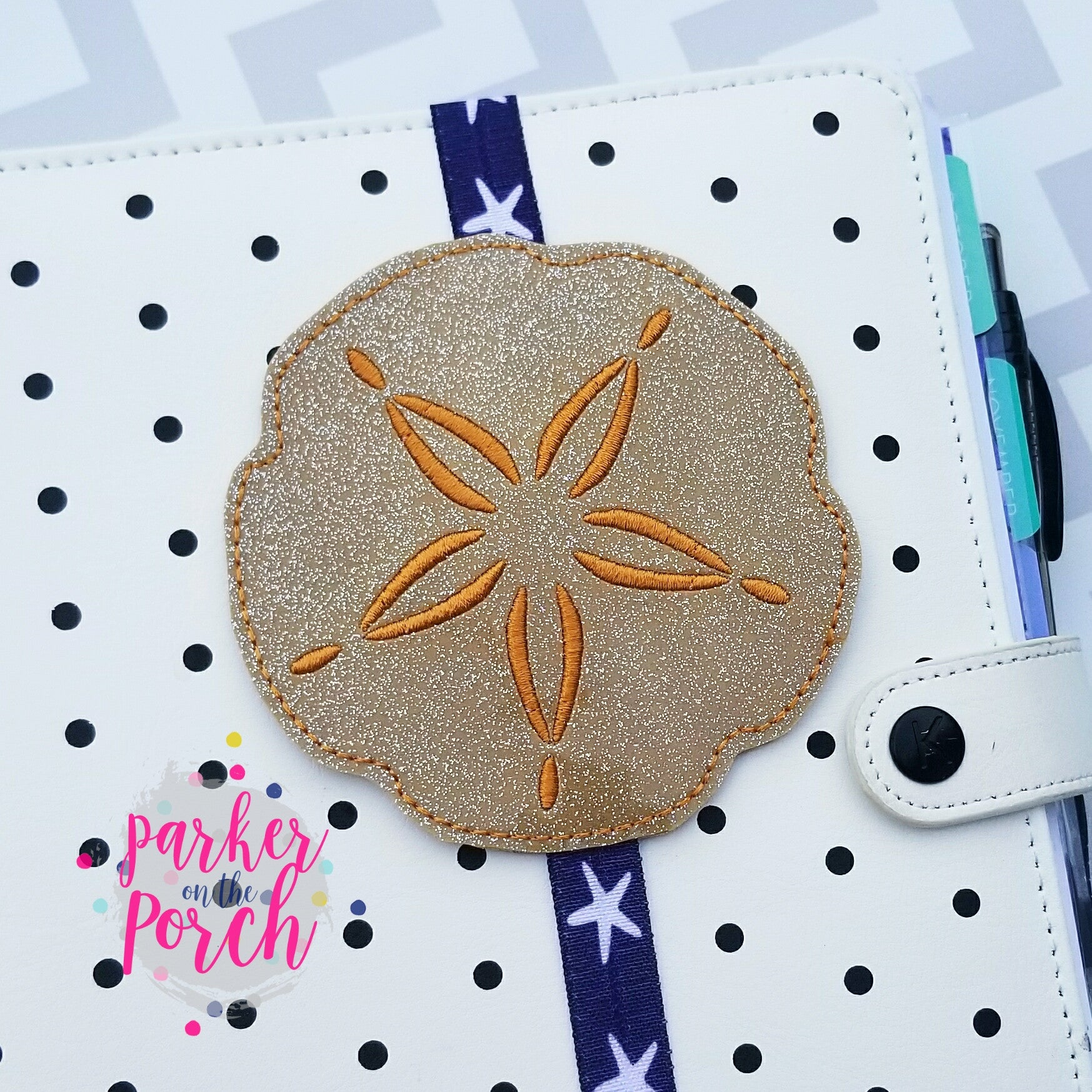 Digital Download- Sand Dollar Planner Band - in the hoop machine embroidery ITH pattern