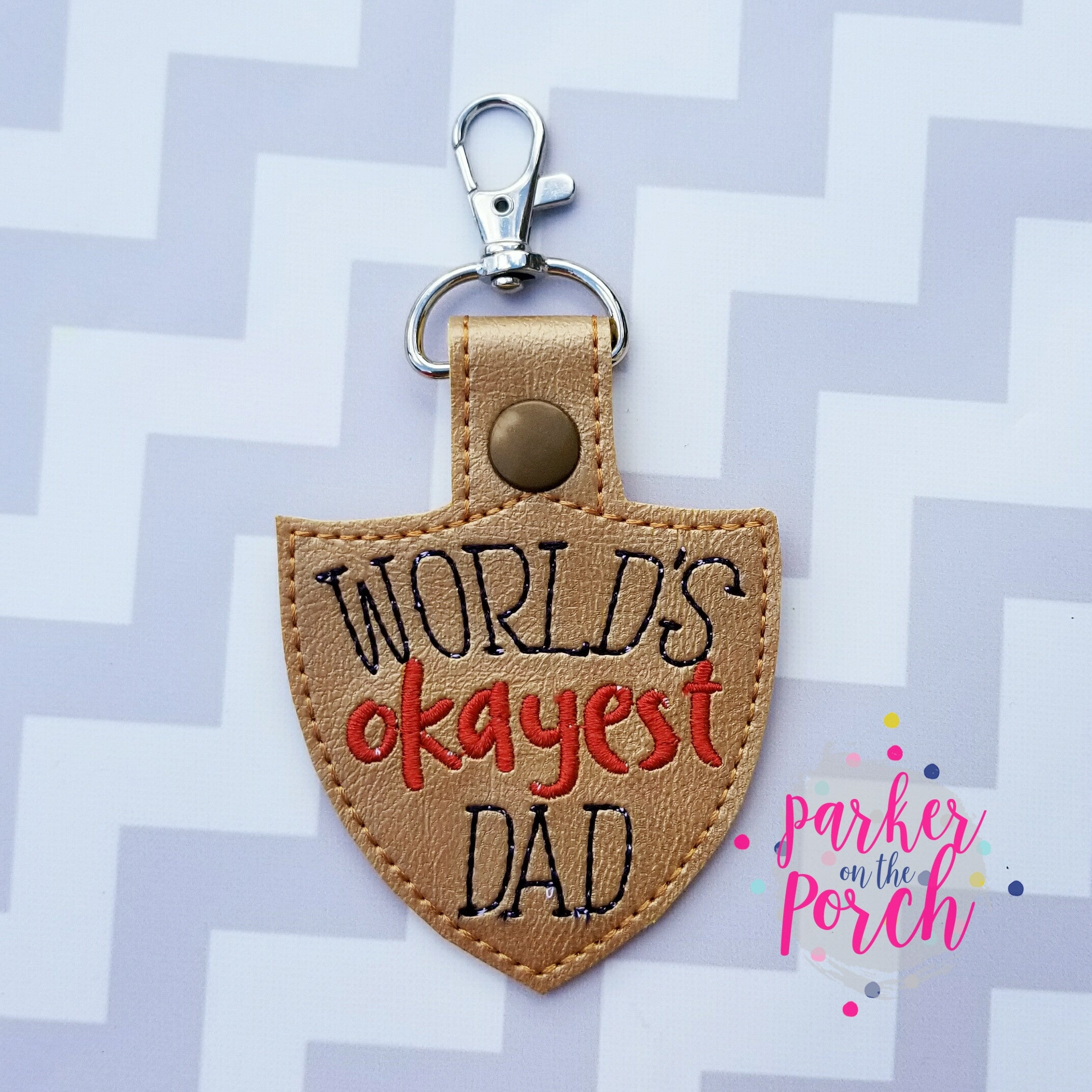Digital Download- World's Okayest Dad - Pop- Papa Snaptab - in the hoop machine embroidery ITH pattern