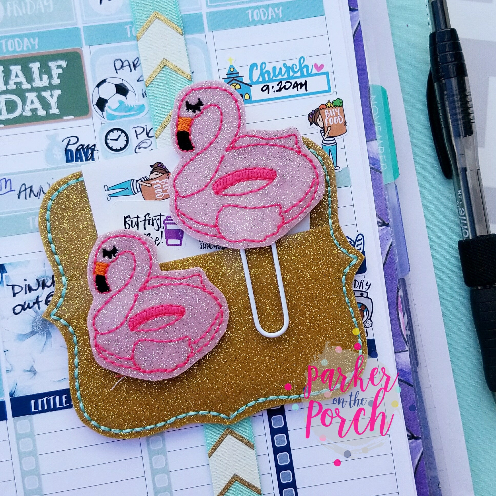 Digital Download- Flamingo Float Planner Clip & Feltie Set - in the hoop machine embroidery