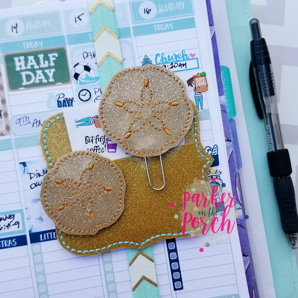 Digital Download - Sand Dollar Feltie & Planner Clip Set - in the hoop machine embroidery